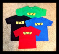 Freezer paper stencil Ninjago shirts. Party favors for son's bday party