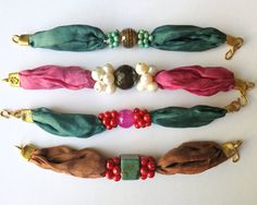 Silk Bracelets with Pearls, Turquoise, Corals and Gemstones - Turkish Jewelry - Wholesale Lot of 4