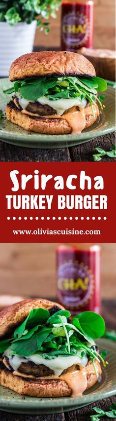 A juicy Sriracha Turkey Burger topped with spicy and creamy Sriracha mayo, Swiss cheese and watercress! Who could resist that? Cooking Recipes, Healthy Recipes, Top Recipes, Sweets Recipes, Delicious Recipes, Turkey Burgers, Burger Recipes, Dinner Recipes, Dinner Ideas