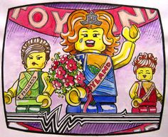 by Vernon Fourie | illo illustration drawing cartoon lego beauty pageant beauty queen pen and ink watercolour