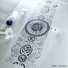 "Arte encomendada para tattoo, destino: Brasília-DF. ""FAIXA DOS ORIXÁS E OS CENTROS DE FORÇA"" #ogum #oxossi #oxumare #mandala #mandalas #tatuagem Sacred Geometry, Abstract Pattern, Tattoos, Emerson, Inspiration, Henna, Ornaments, Sash Belts, Tattoo Ideas"