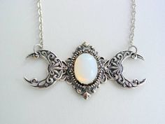 Triple Moon Goddess Vintage White Moonstone Silver Oxidized Finish Necklace