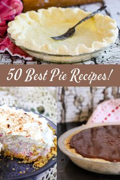 50 of the best pie recipes you'll ever find! Apple pies, chocolate pies, no-bake recipes, and more! Easy Tart Recipes, Easy Potluck Recipes, Apple Recipes, Sweet Recipes, Baking Recipes, Dessert Recipes, Desserts, Yummy Recipes, Best Pie Recipe Ever