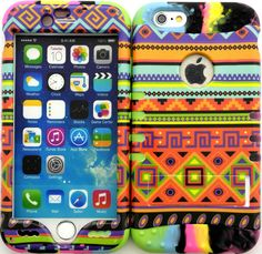 """Orange Green and Yellow """"Colorful Tribal Aztec with Non-Slip Grip Texture"""" 3 Piece Layered ULTRA Tuff Custom Armored Hybrid Case for the NEW iPhone 6 Plus 5.5"""" Inch Smartphone by Apple {Made of Soft Silicone Gel and Hard Rubberized Plastic with External Built in Kickstand} """"All Ports Accessible"""""""