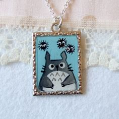 Totoro with soot, original art, hand painted pendant, s necklace. $15.00, via Etsy.