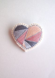 Mothers Day heart brooch hand embroidered with by AnAstridEndeavor