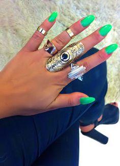 Cuff Knuckle Rings + Neon Green Nails <3 L.O.V.E.
