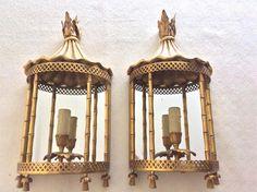 Paire de lanternes en appliques murales, en bronze doré, Attribuées Aux Atelier Jansen, ANTINA Market, Proantic