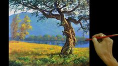 Acrylic Landscape Painting in Time-lapse / Golden Field with Trees / JML... Canvas Painting Tutorials, Painting Videos, Painting Lessons, Acrylic Painting Canvas, Painting Techniques, Diy Painting, Easy Landscape Paintings, Beginner Painting, Tree Art