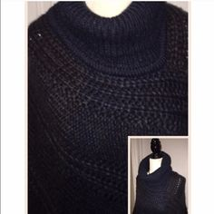 Knitted turtleneck poncho Super cute and cozy. Navy blue with subtle hints of grey. 100% acrylic. OSFM. Do Everything in Love Sweaters Shrugs & Ponchos