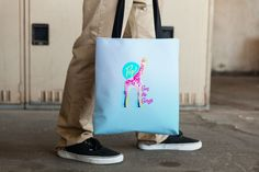 'Pop Goes the Giraffe' Tote Bag. What do you think of this piece? Available now. http://wearehalfhill.com/store/animalia/pop-goes-the-giraffe-tote-bag?utm_content=buffer84b13&utm_medium=social&utm_source=pinterest.com&utm_campaign=buffer #africa #giraffe