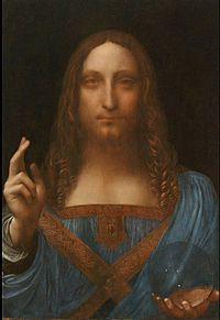 Salvator Mundi, Oil on walnut, c. 1490–1519, Location: Private collection, New York City | Leonardo da Vinci | Salvator Mundi is a painting recently attributed to Leonardo da Vinci, who is known to have painted the subject. It was lost and later rediscovered, and restored and exhibited in 2011. The painting shows Christ, in Renaissance garb, giving a benediction with his raised right hand and crossed fingers while holding a crystal sphere in his left hand. | wikipedia