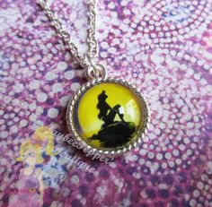 The Little Mermaid jewelry Ariel silhouette pendant silver toned summer vacation fun woman teens cute winter gift