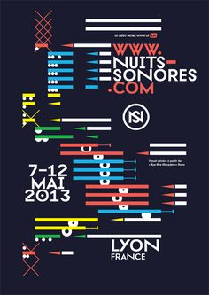 Nuits Sonores 2013, Lyon Art Art director Poster Artwork Visual Graphic Mixer Composition Communication Typographic Work Digital
