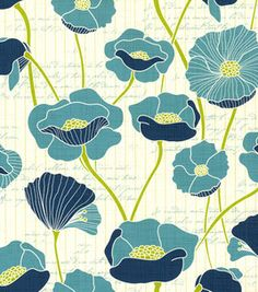 Patty Young Premium Quilt Fabric- Vintage Poppies Teal