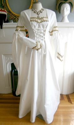 Medieval Wedding Dress, Gown, Renaissance Fairs, LARP, Fantasy by CadwaladrCostumes on Etsy https://www.etsy.com/listing/225148607/medieval-wedding-dress-gown-renaissance