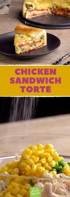 Ein Vergnügen zu stapeln, ein noch größeres Vergnügen, zu essen: Chicken Sandwich-Torte! #rezept #rezepte #huhn #hühnchen #fleischkrallen #toast