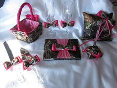 Camo and Pink Satin Wedding Set  Entire Set by MoonjellyDesigns, $155.00 but in neon orange