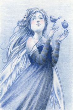Blue fairy with birds illustration