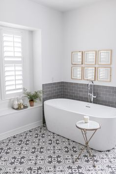 Before & After / Hurricane Harvey Project Living Room and Main Bathroom - Inspiration for Master Bath Renovation - . Bad Inspiration, Bathroom Inspiration, Bathroom Floor Tiles, Bathroom Gray, Shower Bathroom, Colourful Bathroom Tiles, Gray And White Bathroom Ideas, Subway Tile Bathrooms, Metro Tiles Bathroom