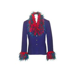 Vintage 90s Faux Fur Trimmed Blue 100% Wool Blazer- Club Kid/ Rave Inspired   Label: Kasper Era: 1990s? Size: 6 Color: Royal blue, red, green Detail: Fur trimmed collar & sleeves Features: Fully lined, fancy 4 button front closure, front straight pockets (still sewn together)