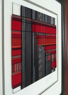 3f05287ed7bf Items similar to CUSTOM ORDER - Thread Wrapped Framed Art Piece in Red and  Charcoal Gray Modern Plaid Design on Etsy