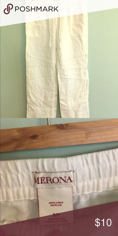 100% linen pant, brand new, no tags Beautiful white linen pants, brought on vacation and never worn! Size small, from Merona Merona Pants Wide Leg