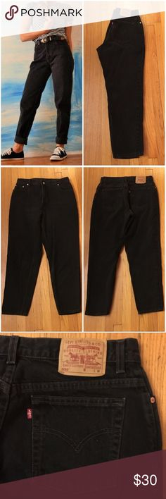"""Black Vintage Levi's Jeans Style #/Fit: black 550 relaxed fit, tapered leg Size Marked: 16 Mis M Modern Size BEST FIT: 14 Apx. measurements when laying flat: 16"""" across waistband 13"""" front rise  29.5"""" inseam 23.5"""" across bottom of back pockets Condition: excellent vintage  🎉Perfect High-Waisted Mom Jeans! Left cover photo is style inspo only, rest are mine! Check out my closet for other vintage denim in a VARIETY of sizes. Price is firm so bundle for a discount!! Levi's Jeans"""