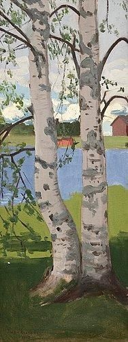 View artworks for sale by Rissanen, Juho Juho Rissanen Finnish). Filter by auction house, media and more. Two Trees, Birch Trees, Landscape Paintings, Landscapes, Tree Icon, Gypsy Living, Tree Trunks, Scandinavian Art, Seas