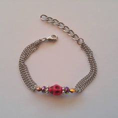 SILVER VIBES mixed bead bar with pink skull bracelet Skull Bracelet, Beaded Bracelets, Unique Jewelry, Jewelry Design, Pink Skull, Hand Chain, Anklets, Hands, Bar