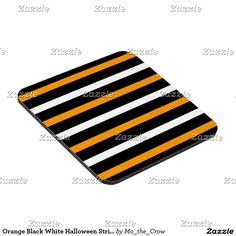 Orange Black White Halloween Stripes Coaster