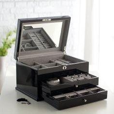 Mirror Lid Locking Jewelry Box Organizer Storage Home Living Bedroom Armoire