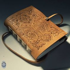 handbound book with etched leather cover / slovak folk patterns