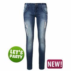 Fresh Made - Jeans mit Strassblumen - günstig im Online Store FASHION5 kaufen