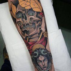 Neo Traditional Skull Tattoo by Toni Donaire #skull #skulltattoo…
