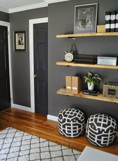 shelving in our family room? Or living room? Maybe in every room! Benjamin Moore Kendall Charcoal on the walls, trim is BM Simply White, Target rug, DIY wood plank shelves, poufs from Target My Living Room, Home And Living, Living Room Decor, Bedroom Decor, Master Bedroom, Living Room With Grey Walls, Small Living, Bedroom Ideas, Bedroom Shelves