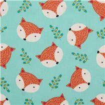 mint green fox leaf animal fabric Timeless Treasures USA