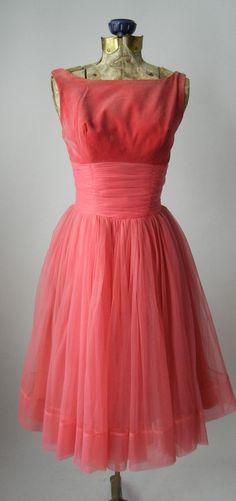 Vintage 1950s Pink Velvet & Chiffon Dress, Small