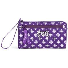 Vera Bradley Front Zip Wristlet in Purple/White Mini Concerto with TCU... ($48) ❤ liked on Polyvore featuring bags, handbags, clutches, accessories, wristlets, mini pochette, mini handbags, white handbags, purple wristlet and purple handbags