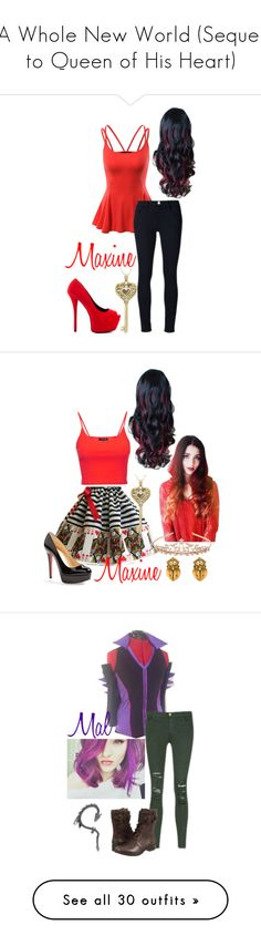 """A Whole New World (Sequel to Queen of His Heart)"" by staybeautiful-273 ❤ liked on Polyvore featuring Doublju, Frame Denim, Qupid, disney, aliceinwonderland, disneycharacter, TheQueenofHearts, disneydescendants, Christian Louboutin and Topshop"