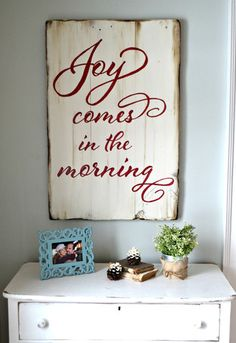 """""""Joy comes in the morning"""" Wood Sign {customizable}"""