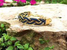 Braided navy blue and gold Friendship Bracelet Valentine's jewelry