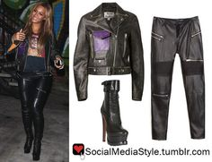 Buy Beyonce's Purple Pocket Black Leather Jacket, Faux Leather Biker Pants, and Black Platform Booties, here!