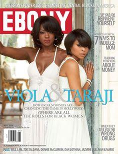 Ebony's February 2009 cover featuring Oscar nominees Viola Davis (L) and Taraji P. Henson