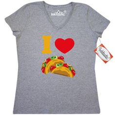 Inktastic I Love Tacos Women's V-Neck T-Shirt Heart Taco Mexican Food Pinkinkartkids Drinks Chef Cook Kitchen Coffee Clothing Apparel Tees Adult, Size: Small, Grey