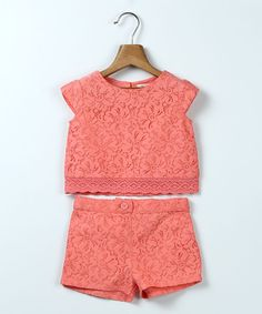 Coral Lace Crop Top & Shorts - Infant Toddler & Girls