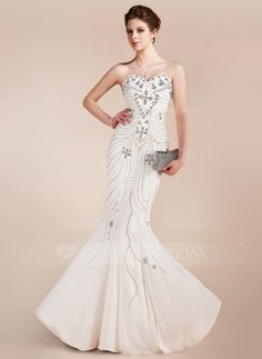 Prom Dresses - $228.99 - Mermaid Sweetheart Floor-Length Chiffon Prom Dress With Beading (018018910)