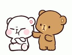 LINE Official Stickers - Milk & Mocha: Unstoppable Lovers Example with GIF Animation Cute Love Pictures, Cute Love Gif, Cute Cat Gif, Cute Couple Cartoon, Cute Cartoon Pictures, Cute Bear Drawings, Kawaii Drawings, Funny Videos, Calin Gif