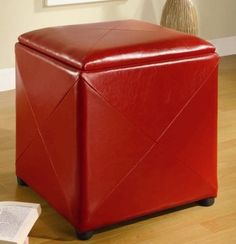 Milano Storage Cube with Storage Leatherette upholstery, $118, white I could add nailheads to this one as well