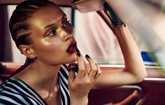 Chloe Lecareux by Steven Chee in Baby You Can Drive My Car Makeup Tips, Hair Makeup, Makeup Trends, Chloe, Races Fashion, Cornrows, Glowing Skin, Short Film, Editorial Fashion